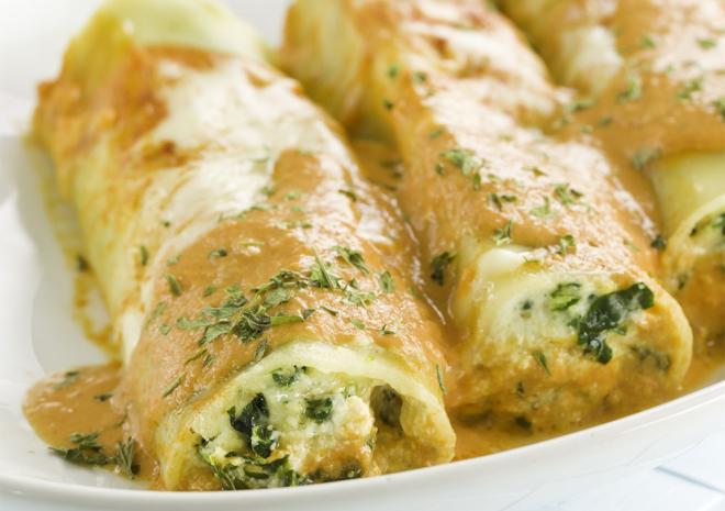 Κανελόνια με σπανάκι και τυρί κρέμα